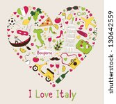Italy symbols in heart shape - stock vector