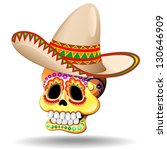 Sugar Skull Calaveras with Sombrero - stock photo