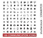 100 communication icons set, vector - stock vector