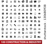 100 construction & industry icons set, vector - stock vector