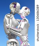 Robots in Love - Two Robots in an embrace kissing. - stock photo