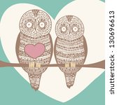 sweet owl couple in love | Shutterstock .eps vector #130696613