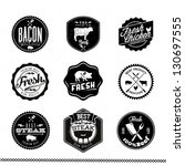 Premium Beef labels, Vintage BBQ Grill elements, Typographical Design - stock vector