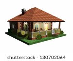 Summer Holidays House Bungalow 3D Architecture - stock photo