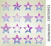 Pentagonal point star collection of sixteen emblem icon design elements, eps10 vector template set - stock vector