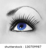 blue eye with long eyelashes ... | Shutterstock . vector #130709987