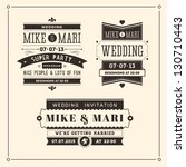 retro weddings invitations | Shutterstock .eps vector #130710443