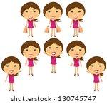 set cartoon smiling girl in... | Shutterstock . vector #130745747