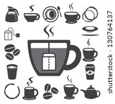 Stock vector coffee cup and tea cup icon set illustration eps 130764137