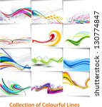 set of abstract wave line