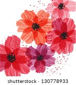 Stylized red flowers. Abstract floral background.