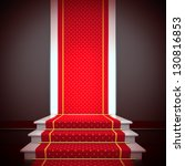 Stage of fame. A 3d illustration blank template of podium with stairs and red carpet. - stock photo