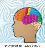 profile or woman with puzzle... | Shutterstock .eps vector #130834577
