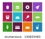 Fast Food Icons On Color...