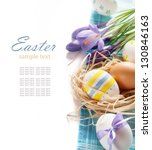 Easter Eggs With Spring Flower...