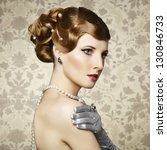 retro portrait of  beautiful... | Shutterstock . vector #130846733