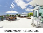 Modern balcony in luxury penthouse - stock photo