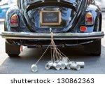 vintage wedding car with just... | Shutterstock . vector #130862363