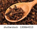cloves  spice  and wooden spoon ...   Shutterstock . vector #130864313