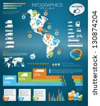 Detail infographic vector illustration with. Map of world and Map of North and South America, car infographics and Information Graphics. Paper Style. Higth quality. Easy to edit country - stock vector