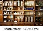 bottles on the shelf in old... | Shutterstock . vector #130911593