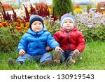 two little brothers walking in... | Shutterstock . vector #130919543