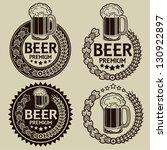 retro styled beer seals   labels | Shutterstock .eps vector #130922897
