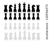 chess pieces silhouette  vector | Shutterstock .eps vector #130936373