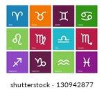 Zodiac Symbol Icons On Color...