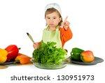 one small little girl preparing ... | Shutterstock . vector #130951973
