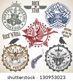 set of stamps with symbols rock'... | Shutterstock .eps vector #130953023