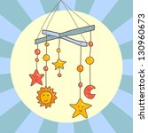 baby crib hanging mobile toy on ... | Shutterstock .eps vector #130960673