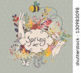 Spring concept background. Vintage floral background with bee and butterfly in cartoon style in vector - stock vector