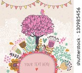 Love tree concept illustration. Cartoon floral background in vector made if flowers, tree, hearts and bird. Romantic floral wallpaper - stock vector