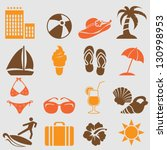 summer icons set.vector | Shutterstock .eps vector #130998953