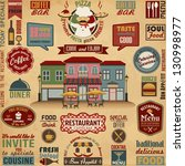 collection of restaurant ... | Shutterstock .eps vector #130998977