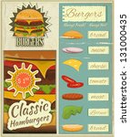 Retro Design of Burgers Menu, Big Hamburger with Ingredients and place for Price in Vintage Style. Set. Vector Illustration. - stock vector