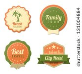 Travel Vintage Labels logo template collection. Tourism Stickers Retro style. Beach, Family tour, City Hotel badge icons. Vector. Editable. - stock vector