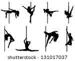 set of pole dancer. vector... | Shutterstock .eps vector #131017037