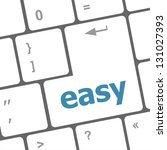 white keyboard with easy button ... | Shutterstock . vector #131027393