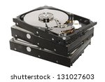 old hard drives stacked... | Shutterstock . vector #131027603