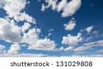 White clouds and blue - stock photo