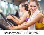 group of people training in a... | Shutterstock . vector #131048963