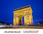 arc de triomphe in paris at... | Shutterstock . vector #131052107