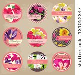 cute tags set  flowers ornaments | Shutterstock .eps vector #131052347