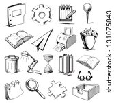 office objects collection. hand ... | Shutterstock .eps vector #131075843