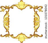 3d gold frame on a white background - stock photo
