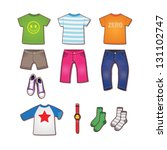 colorful teenage clothes... | Shutterstock .eps vector #131102747
