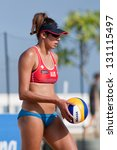 Small photo of CHONBURI, THAILAND-OCTOBER 25: Taliqua Clancy of Australia prepares to serve during Day 2 of Bangsaen Thailand Open on October 25, 2012 at Bangsaen Beach in Chonburi, Thailand