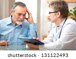 male patient tells the doctor... | Shutterstock . vector #131122493